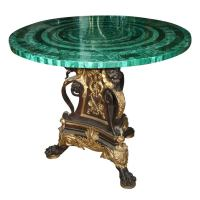 BRONZE TABLE BASE//MALACHITE TABLE TOP (TOP SOLD) at 1stdibs