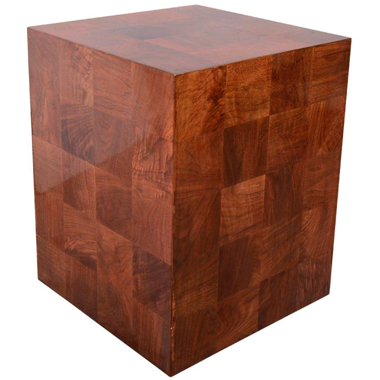 Wood Cube End Table Vintage Lacquered Wood Cube Form Side Table At 1stdibs