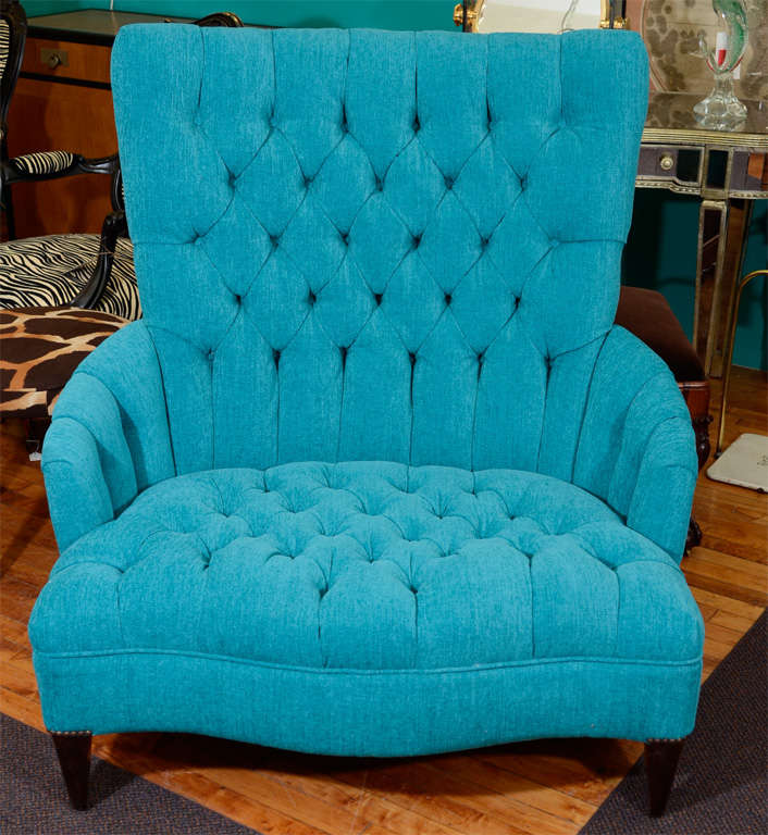 """Vintage Turquoise Blue Tufted """"Chair and a Half"""" at 1stdibs"""