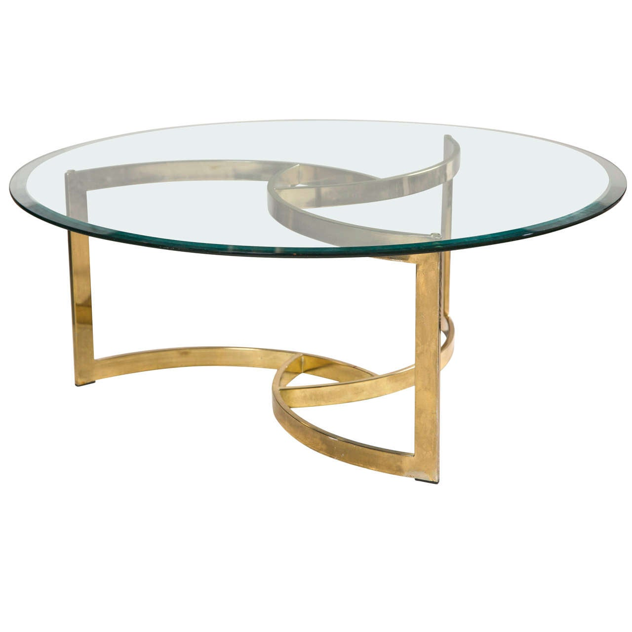 Messing Couchtisch Mit Glasplatte Mid Century Brass Swirl Base With Round Glass Top Coffee
