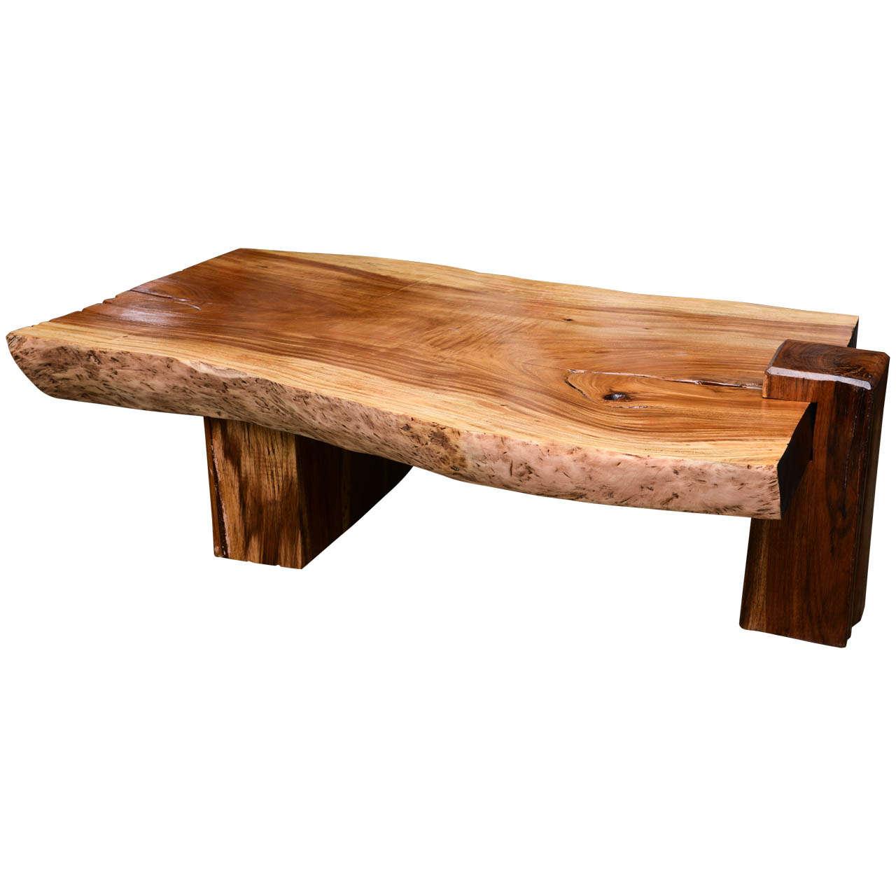 Mid Century Wood Slab Table at 1stdibs