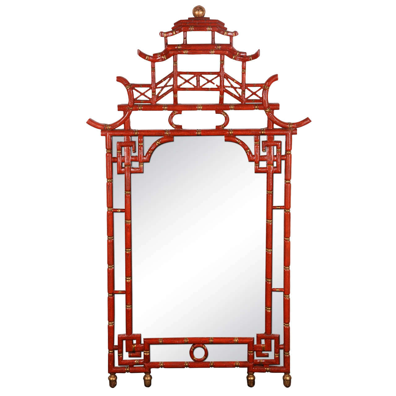 Asian Style Wall Mirrors 1960 39s Chinese Chippendale Style Pagoda Mirror At 1stdibs