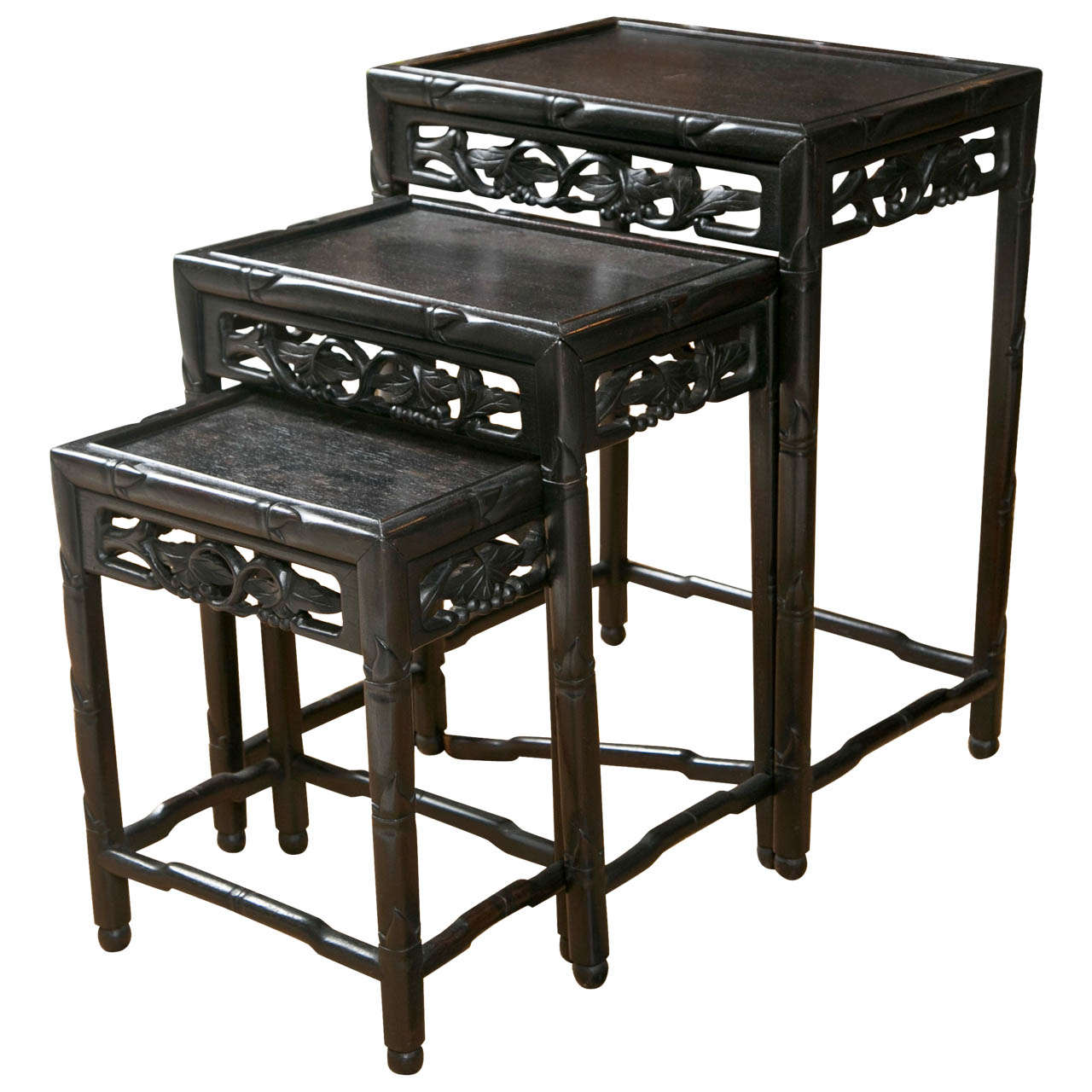 Asian Nesting Tables 19th Century Chinese Carved Nesting Tables
