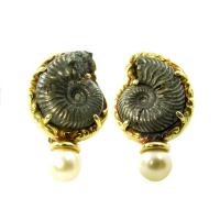 ELIZABETH GAGE Fossilized Shell Pearl Earrings at 1stdibs