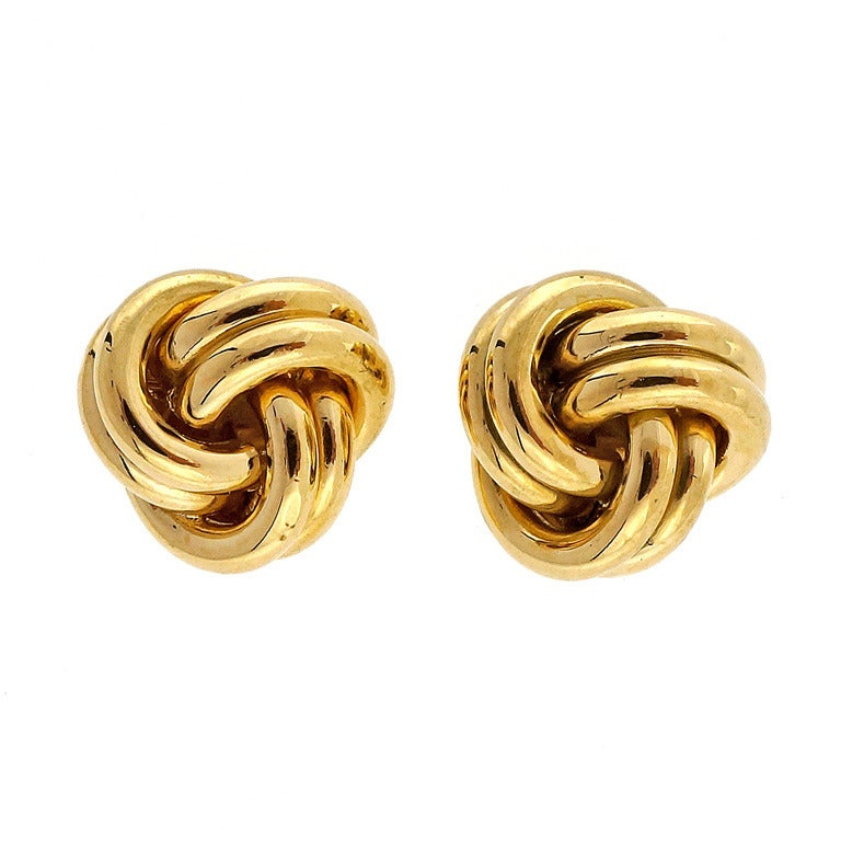 Tiffany and Co. Twist Knot Stud Yellow Gold Earrings at