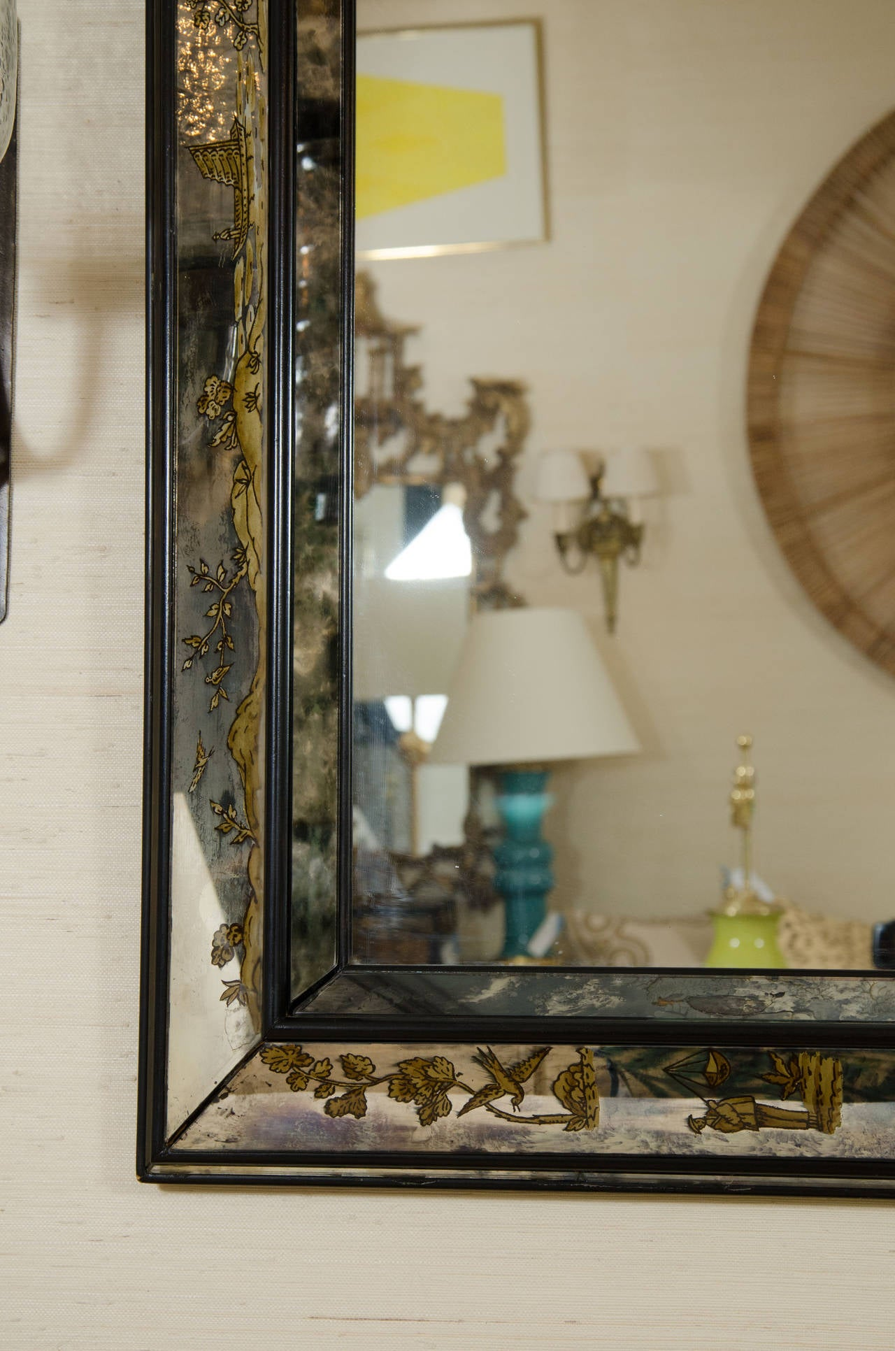 Asian Style Wall Mirrors Impressive Asian Inspired Vintage Eglomise Mirror At 1stdibs