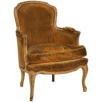 Antique French Louis XV Style Bergere Chair in Old Paint ...