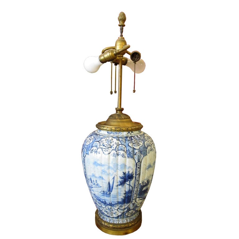 Delft Blue And White Pottery Table Lamp At 1stdibs