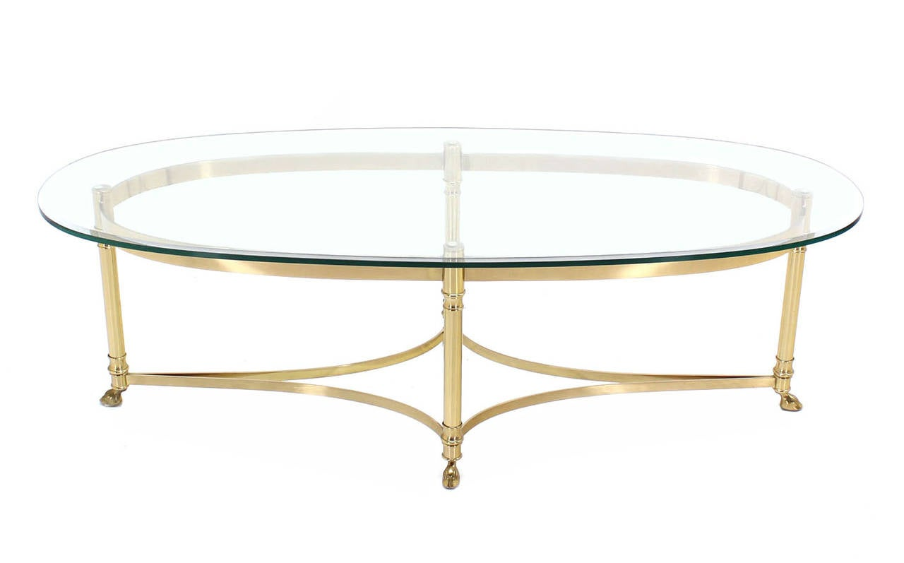 Messing Couchtisch Mit Glasplatte Brass Base And Glass Top Oval Coffee Table With Hoof Feet