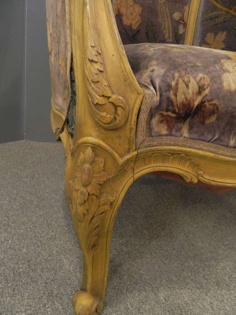 Pair louis xiv style french antique bergere arm chairs at