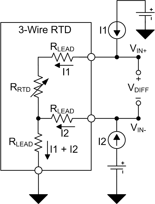 Excitation current mismatch effects in three-wire RTD measurement