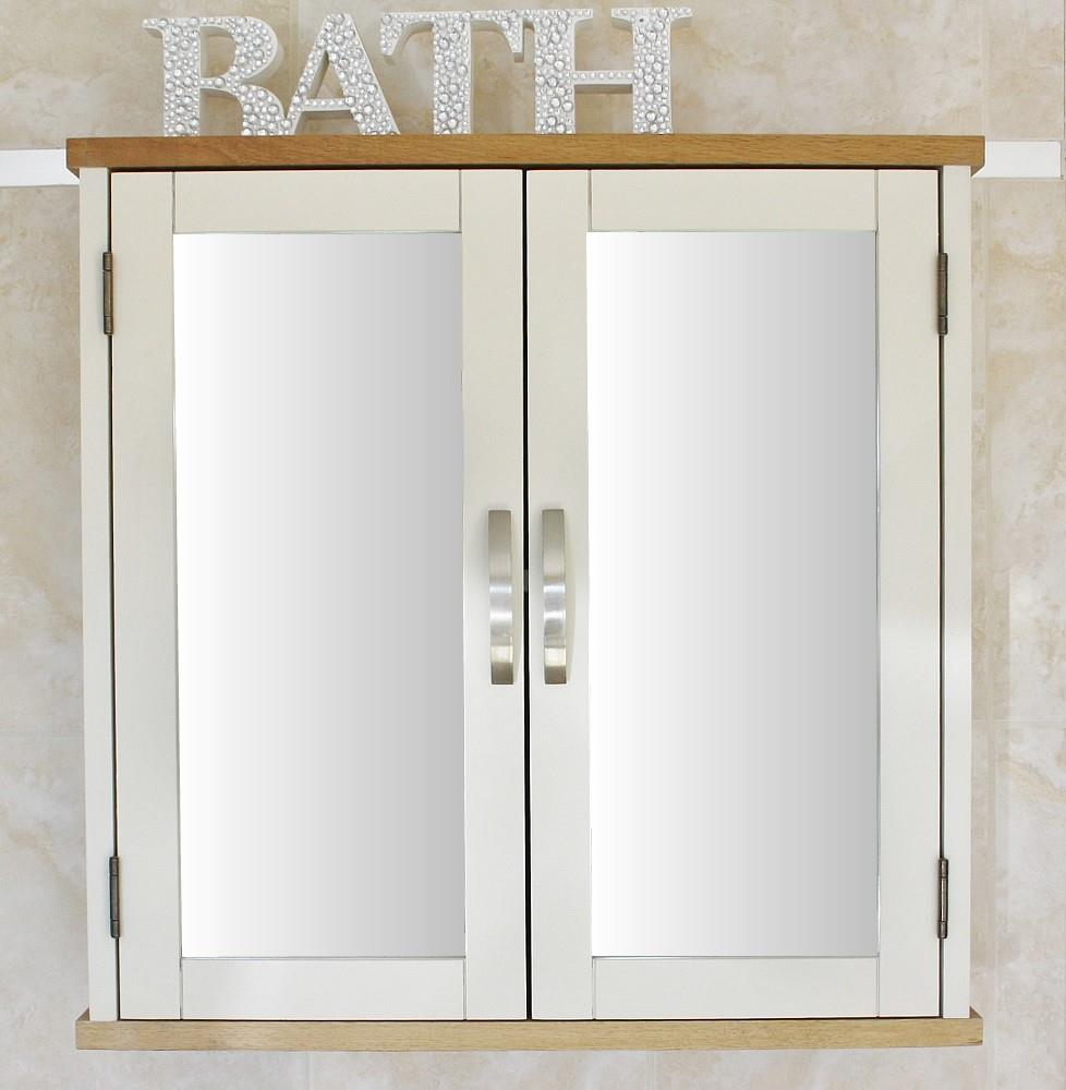 Off White Cream Painted Wall Mounted Mirrored Bathroom Storage Cabinet 352p Ebay