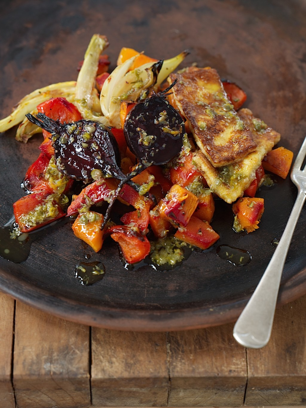 Baked vegetables w sizzled haloumi