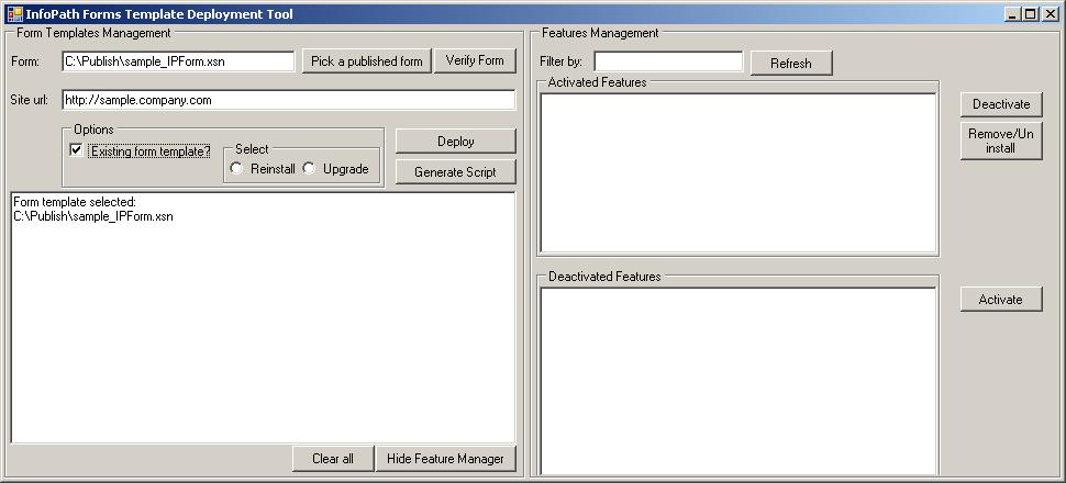 InfoPath Managed Form Templates Deployment Tool for SharePoint