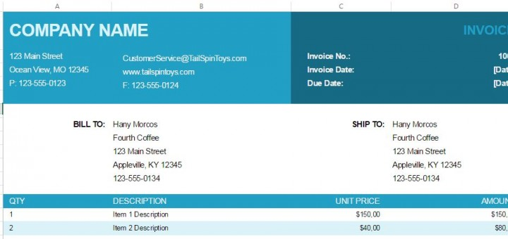 Free Excel Invoice Template ShareTemplates - free excel invoice