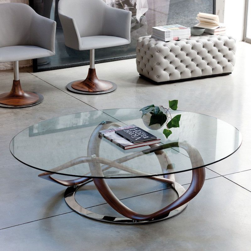 Couchtisch Rund Alu Table Basse Ronde De Salon En Verre - Mobilier Design