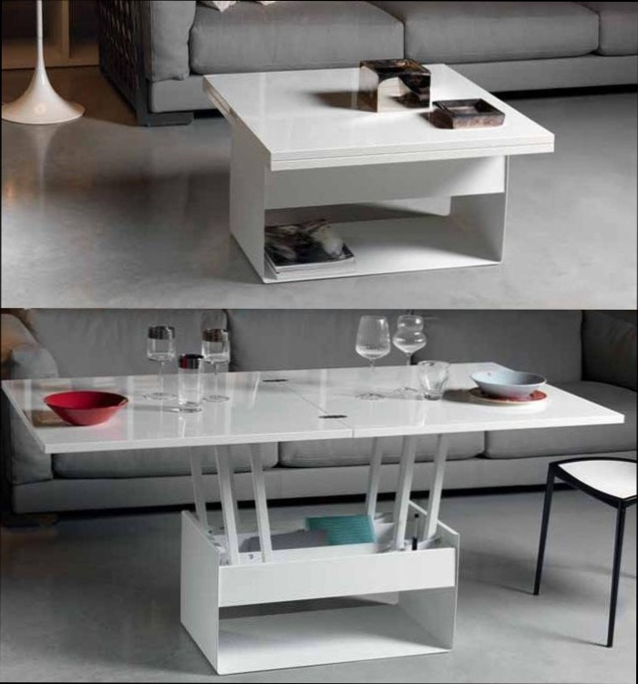 Maison Du Monde Meuble Tv Blanc Table Basse Qui Se Transforme En Table Haute - Mobilier