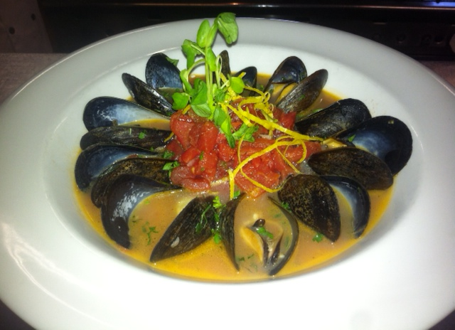 PEI mussels in a coconut curry broth