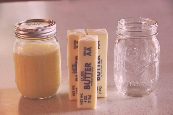 Three sticks of butter fit in one jar