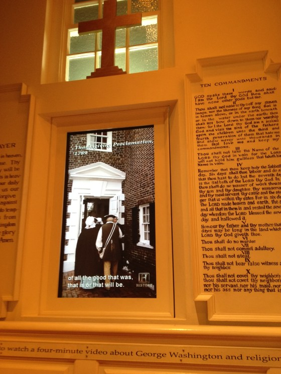 This was an exhibit at Mt. Vernon. There were church pews you could sit in while you watched the short film. I took a photo of the part talking about George Washington signing the Thanksgiving proclamation.