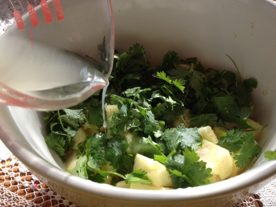 Add chopped cilantro, water and whey