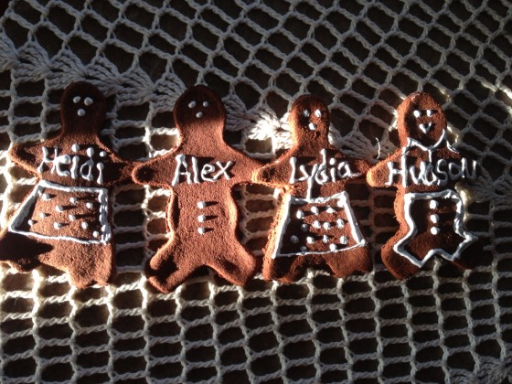 Our three new grand babies  and son in law gingerbread cookies