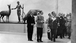 Adolf Hitler and senior Nazis Hermann Goering and Joseph Goebbels visit the 'House for German Art', Munich, 18 July 1937.
