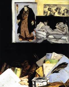 detail, Portrait of Émile Zola by Manet, 1868