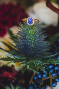 Bouquet Blue Thistle Sapphire Ring - Offbeat Bride - St.Lawrence Market Wedding - Toronto Wedding Photographer