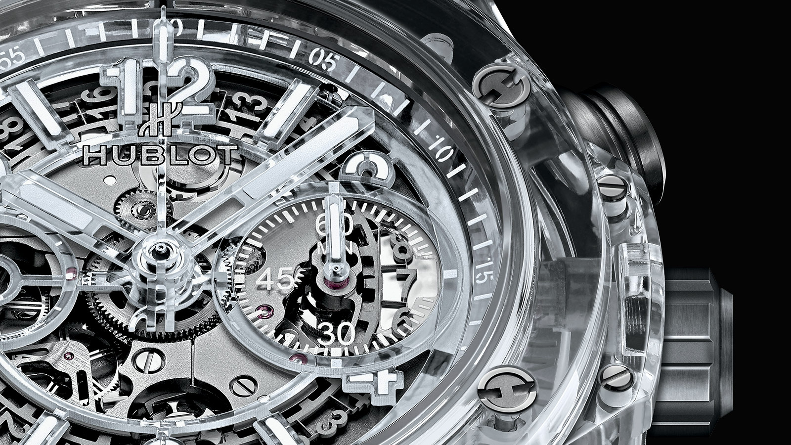 hublot created this incredible transparent watch using blocks of sapphire