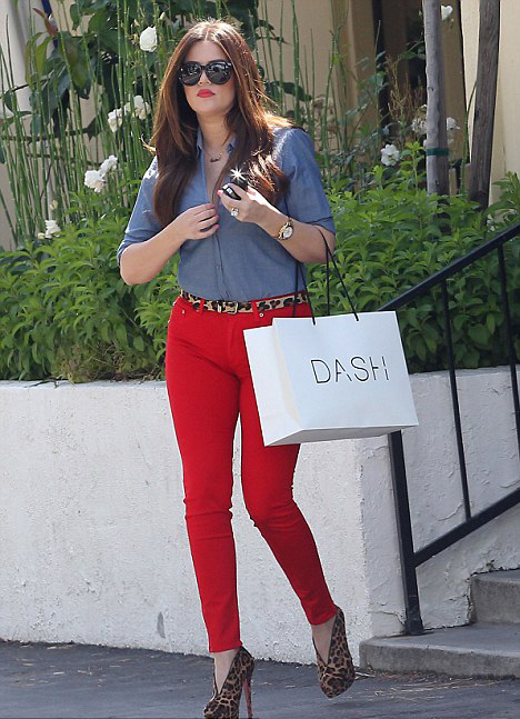 Khloe Kardashian Red jeans