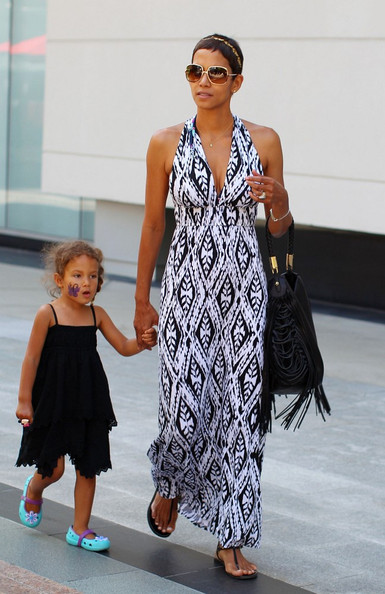 halle berry black and white maxi dress