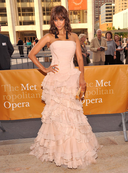 tyra banks blush dress roberto cavalli