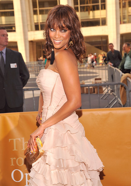 tyra banks blush dress roberto cavalli dress