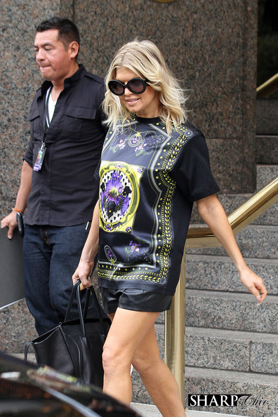 fergie leaving hotel in givenchy dress and shorts