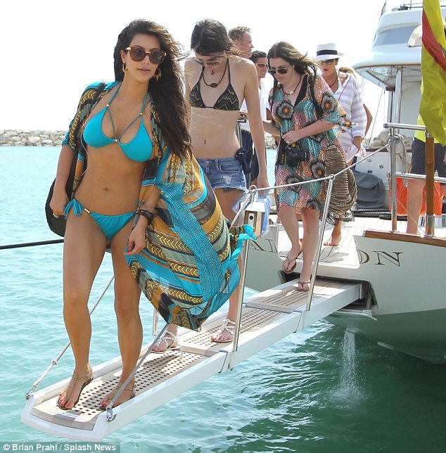 kim kardashian in blue halterneck bikini this week