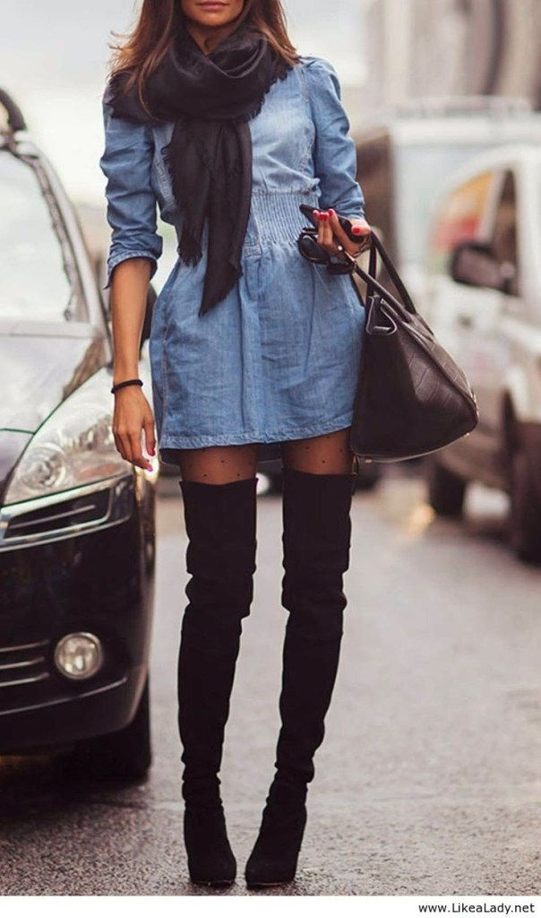 knee high boots with a dress