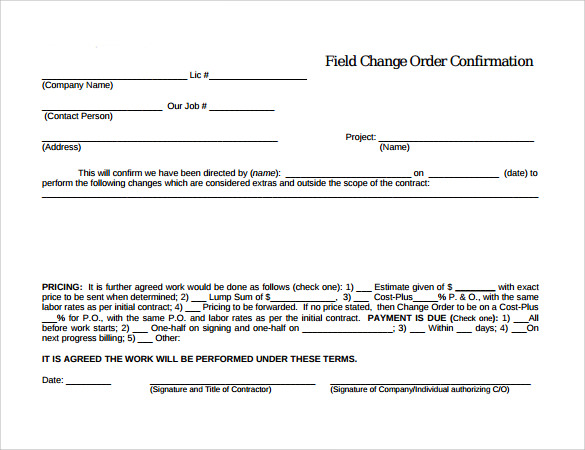 Construction Change Order Template shatterlioninfo - construction change order form