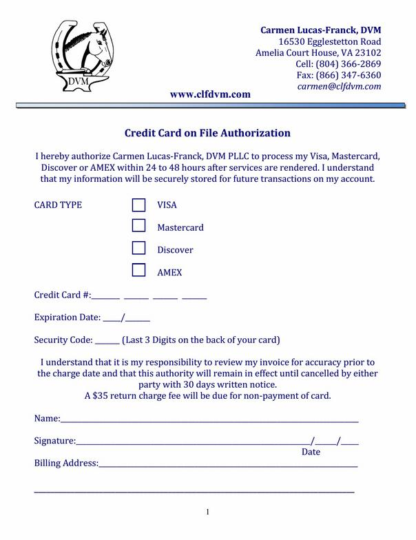 Credit Card On File Authorization Form Template shatterlioninfo