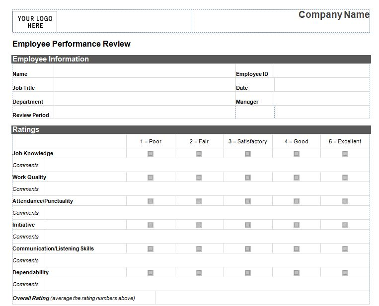 Employee Performance Review Template Word shatterlioninfo