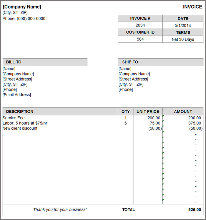 Free Billing Template shatterlioninfo - template for a billing invoice