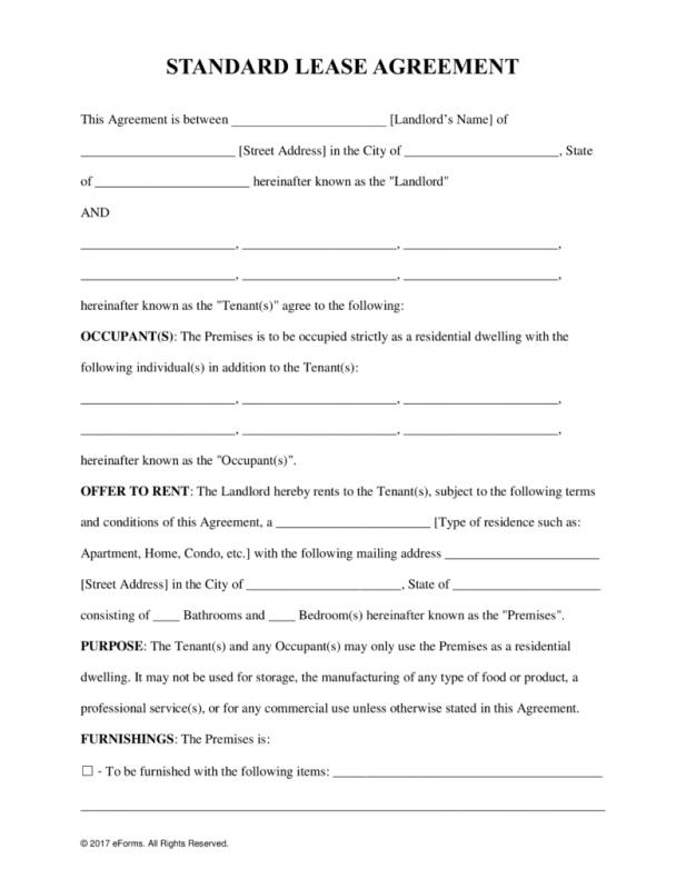 Free Lease Agreement Template Word shatterlioninfo