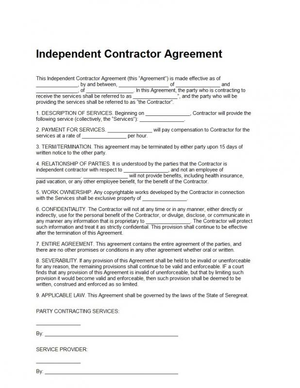 Contractor Contract Template | cvfree.pro