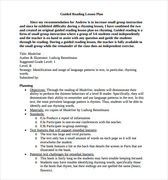 Guided Reading Lesson Plan Template shatterlioninfo