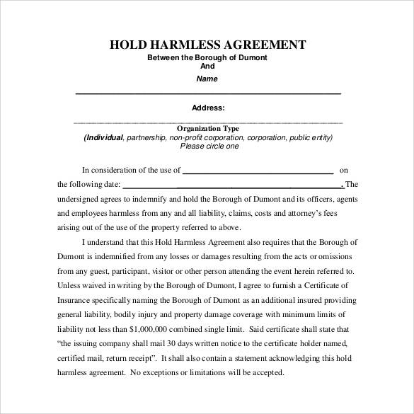 Hold Harmless Agreement Template shatterlioninfo - hold harmless agreement