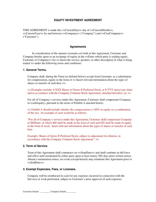 Investors Agreement Template - Fiveoutsiders