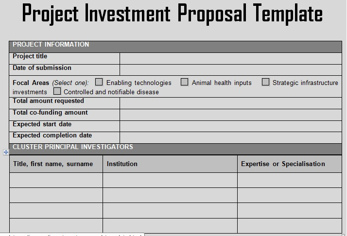 Investment Proposal Template shatterlioninfo - sample investment proposal