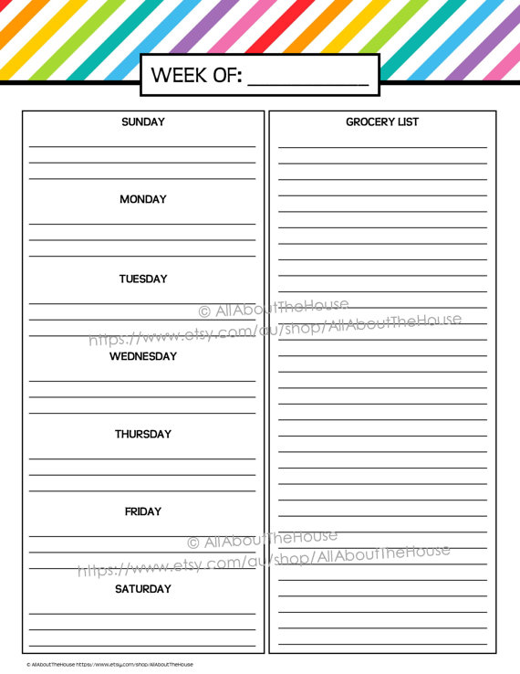 Meal Planning Template With Grocery List shatterlioninfo