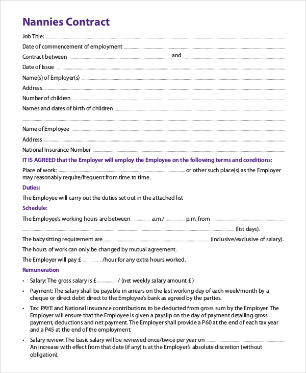 nanny contract form - Towerssconstruction