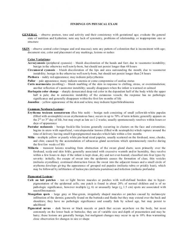 Normal Physical Exam Template shatterlioninfo